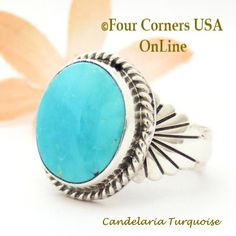 Four Corners USA Online - Size 10 Candelaria Turquoise Silver Ring Navajo Artisan Wilson Padilla NAR-1872, $218.00 (http://stores.fourcornersusaonline.com/size-10-candelaria-turquoise-silver-ring-navajo-artisan-wilson-padilla-nar-1872/)