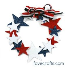 salt dough?  Paper Red-White-and-Blue-Star-Wreath by fave crafts