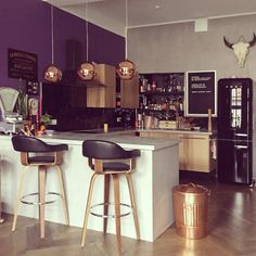 Plum and Copper / love the lights over the breakfast bar