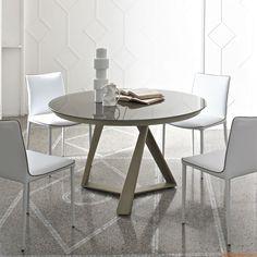 Millennium O Ext | Runder, verlängerbarer Tisch, Gestell in Lackiert-Sand und Platte aus Kristall in Glänzend-Taubengrau lackiert