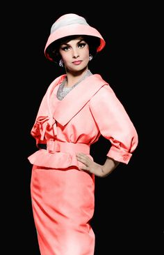 Gina Lollobrigida pink suit dress outfit jacket skirt belt hat necklace jewelry color photo print ad movie star model hollywood glam