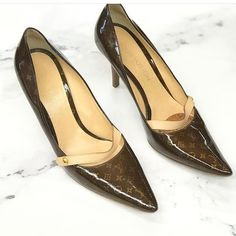 e79cb41c5f08 Louis Vuitton pumps Louis Vuitton Brown Patent Leather LV Printe Pointed  Toe Pumps size 39.5 fits