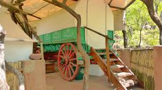 Ox Wagon you can stay in when visiting Tussen-I-Bome Guest Farm. www.tussenibome.co.za Horse Wagon, The Old Days, Camps, Ox, Catering, Antique, Places, Antiques, Taurus