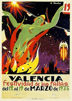 Travel Poster Valencia Festival of Fallas by Manuel Monleon A4 Poster, Retro Poster, Poster Wall, Travel And Tourism, Spain Travel, Travel Tips, Vintage Advertisements, Vintage Ads, Spanish Festivals
