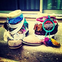 #diy #boho #boots old cowboy boots folded over and hot clued feathers and bekts and fabric