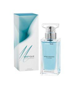 NAZWA: Damskie perfumy z feromonami MISTIQUE  FIRMA: Miiko Nakaido  POJEMNOŚĆ: 50ml  ZAPACH:      Mistique Niebieski   Perfumy Miiko Nakaido stworzone są dla osób chcących podkreślić swoją atrakcyjność. Feromony zawarte w perfumach są bezwonne lecz posiadają szczególne właściwości.   Skład poszczególnych zapachów:  Mistique  - Nuta głowy – peonia, jaśmin, różowy, pieprz Nuta serca – liczi, granat, ananas Nuta bazy – drzewo sandałowe, drzewo tekowe, piżmo