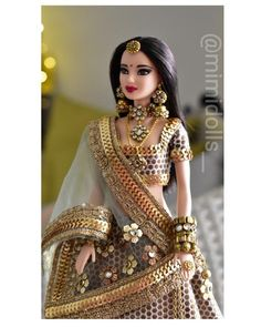 For a regular body type barbie and other similar sized dolls. (Doll/ jewelry not included) Doll Clothes Barbie, Vintage Barbie Dolls, Barbie Dress, Fashion Dolls, Girl Fashion, Indian Dolls, Bride Dolls, Beautiful Barbie Dolls, Stylish Dress Designs