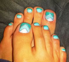Mint turquoise silver glitter chevron nails pedicure