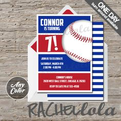 Baseball birthday party invitation, printable template, digital download, first birthday, red and blue, end of season banquet, team color
