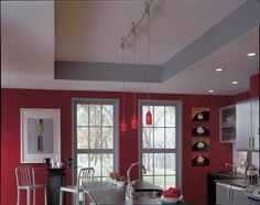 "Illuma-Flex 16"" Support Stem, Pendant With Red Glass & 144"" Track In Brushed Nickel - Homeclick Community"