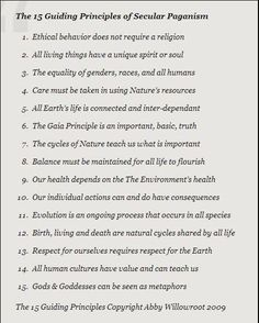 15 guiding principles of secular paganism