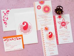 Pink and orange letterpress invitations (Indian, South Asian, wedding stationery)