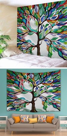 home decor ideas:Tree of Life Wall Hanging Fabric Tapestry For Dorm