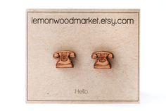 Telephone earrings  alder laser cut wood by LemonWoodMarket || I'll be honest--I'm not sure how to work an old telephone like that! #ifavor123customers #callmebeepme #helloisitmeyourelookingfor