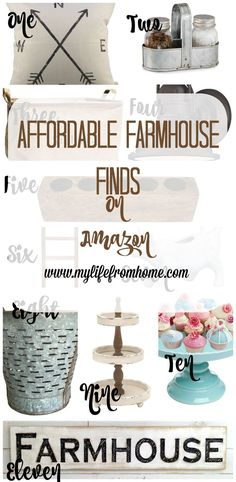I'm always looking for farmhouse decor at a reasonable price.  Amazon has a huge selection that won't break the bank.  I have compiled the best finds into one post to make it easier for you.  My Life From Home http://www.mylifefromhome.com | farmhouse finds | farmhouse style | affordable farmhouse | Amazon | farmhouse products | home decor