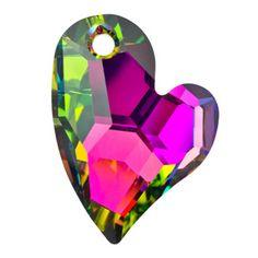6261 17mm Crystal Vitrail Medium Swarovski Elements Crystal Devoted 2 U Heart Pendant | Fusion Beads