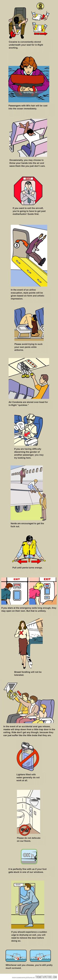 A whole other interpretation of the pictures in the airline safety brochure...