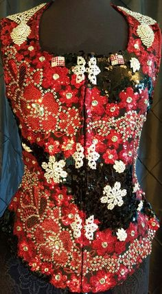 Show Diva Designs gorgeous new black and red applique vest with large crystals size medium. www.showdivadesigns.com