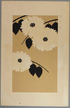 """Original japanese antique woodcut print Kawarazaki Kodo """"Dahlia"""""""