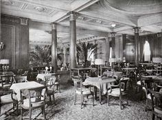 Here are photographs of the grand ocean liner S.S. Majestic of the White Star Line with views of some of the restaurants and the First Class Dining Saloon - The Ultimate in luxury for 1922 transatlantic travel.