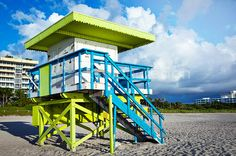 Lime Green Lifeguard South Beach Stand 8 x 10 by JennRationDesign, $25.00