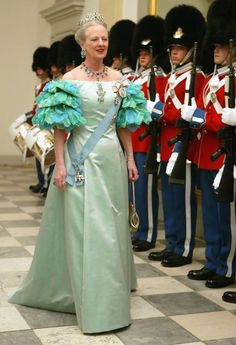 Queen Margrethe II of Denmark attends a celebratory dinner at Christiansborg Palace on May 2004 in honor of the upcoming wedding of Crown Prince Frederik to Miss Mary Elizabeth Donaldson on May in Copenhagen, Denmark. Denmark Royal Family, Danish Royal Family, Casa Real, Queen And Prince Phillip, Queen Margrethe Ii, Danish Royalty, Royal Dresses, Crown Princess Mary, Royal House