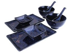 Blue Dragonfly Collection Sushi Dinnerware Made In Japan Set for Two