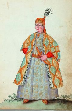 A leaf from Bartholomäus Schachman's album of watercolours of the Ottoman Empire, 1590 (Qatar Orientalist Museum Collection) 16th Century Clothing, Turkish Soldiers, 17th Century Art, Russian Fashion, Ottoman Empire, Historical Clothing, Islamic Art, Medieval, Art