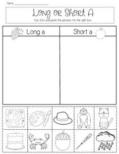 Students will cut out pictures and sort them by short or long vowel sounds. Vowels a, e, i, o, and u are included. One page per vowel. Long Vowel Worksheets, Short Vowel Activities, Word Work Activities, Phonics Activities, Teaching Vowels, Vowel Practice, Short Vowel Sounds, Phonics Reading, Reading Comprehension