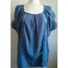 Embroidered blue blouse Detailed sleeves. Gorgeous and fresh for summer Tops Blouses