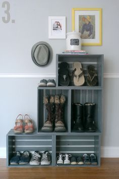 """Blogger Jamie calls this Wooden Crate Shoe Shelf """"the easiest piece of furniture you will ever build."""""""