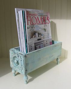 Vintage Wooden Drawer Repurposed Antique Sewing Drawer Shabby Chic Aqua Home…