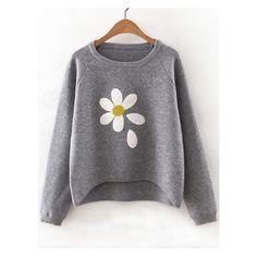 Grey Flower Print Raglan Sleeve Dip Hem Sweater ($34) ❤ liked on Polyvore featuring tops, sweaters, floral sweater, raglan top, grey top, flower print tops and raglan sweater