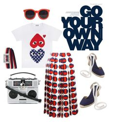 """""""Go your own heart"""" by gingersiren on Polyvore featuring Karen Walker, Dolce&Gabbana, Gucci, Soludos and MyFaveTshirt"""