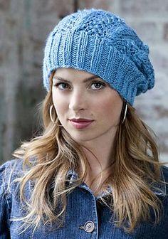 Lace slouch hat free knitting pattern.