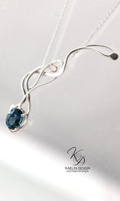 Comet's Fall Blue Topaz Silver Pendant handmade by Kaelin Design Art Jewelry