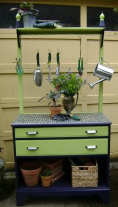Repurpose a dresser into garden potting bench