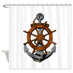 Ship Wheel And Anchor Shower Curtain by MacDonaldCreativeStudios - CafePress