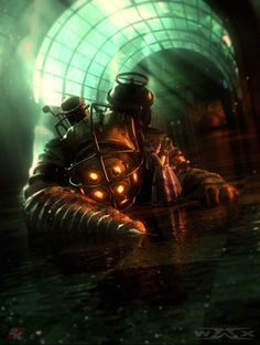 Bioshock Big Daddy and a Little Sister