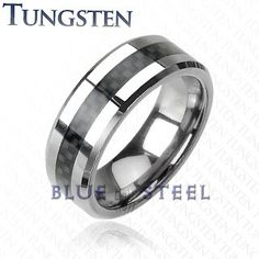 PIN IT TO WIN IT! Tungsten Carbon: You know the world is a hectic and busy place that never stops for anyone, and that even when you stumble you've got to get back up and keep on rolling. The Tungsten Carbon ring with black carbon fiber center inlay is a reminder that life never stops - and neither should you.  $99.99  www.buybluesteel.com