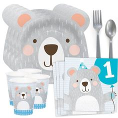 1st Birthday Bear Standard Tableware Kit (Serves 8)