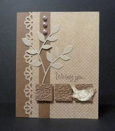 handmade card by Reddyisco ... monochromatic neutrals ... diecut leafy branches ... border punched edge ... trio of inchies wth embossin folder baroque texture ... wonderful!