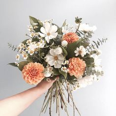 Just picked style bridal wedding bouquet with soft peach & white flowers and greenery Floral Wedding, Wedding Bouquets, Wedding Flowers, Wedding Plants, 50s Wedding, Yellow Wedding, Deco Floral, Flower Aesthetic, Flower Power