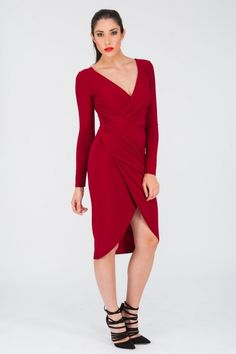 a3ad69e4da Look super hot and sophisticated in our new favourite long sleeve wrap  dress—perfect for work or play! Made from a super soft ...