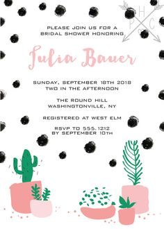 Polka Dot Cactus Bridal Shower Baby Shower by PaperHeartCompany
