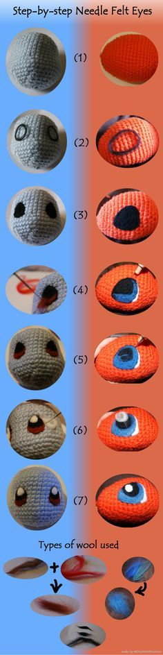 Crochet Stuffed Dolls TIPS FOR EYES / OEIL, YEUX / OOG - POKEMON - This is my step-by-step guide on how I needle felted the eyes onto my Squirtle and Charmander. I do not profess to know a lot about felting (I'm a compl. Crochet Eyes, Cute Crochet, Crochet Crafts, Crochet Dolls, Crochet Yarn, Crochet Stitches, Crochet Projects, Amigurumi Tutorial, Amigurumi Patterns