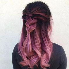 Cabelo pink em degradê - ótima opção pra quem tem preguiça de retocar a raiz