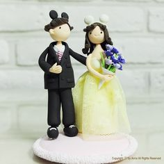 Mickey ears custom wedding cake topper Decoration by annacrafts