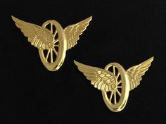 Motorcycle Wheel with Wings Insignia Metal Gold Finish (Pair) Uniform Insignia, Masonic Jewelry, Motorcycle Wheels, Knights Templar, Solid Brass, Wings, Pairs, Gold Plating, Lapel Pins