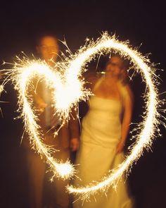sparkler love at the wedding reception